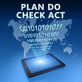 image of plan-do-check-act  - Plan Do Check Act illustration with tablet computer on blue background - JPG