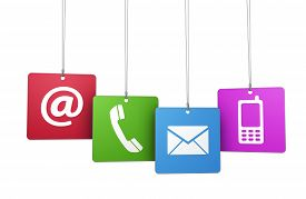 pic of blog icon  - Web and Internet contact us symbol on colorful hanged tags with at email mobile and telephone icons isolated on white background - JPG