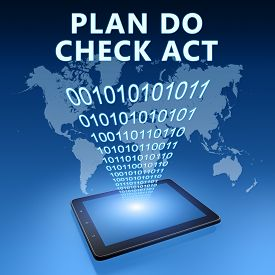 picture of plan-do-check-act  - Plan Do Check Act illustration with tablet computer on blue background - JPG