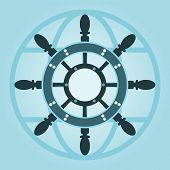picture of ship steering wheel  - Vintage symbol of marine card with steering wheel - JPG