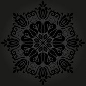 picture of frilly  - Floral vector oriental pattern with arabesque and floral black elements - JPG