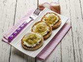stock photo of red shallot  - bruschetta with mozzarella shallot and pepper - JPG
