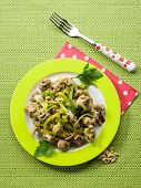 stock photo of stew  - stew meat with leek and pine nuts - JPG