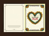 stock photo of i love you mom  - Floral decorated greeting card with text We Love You Mom for Happy Mother - JPG