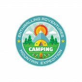 Постер, плакат: Camping enthralling adventures mountain expedition vector badge illustration in flat style