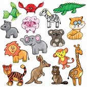 picture of stuffed animals  - Vector illustration with cute animals  - JPG