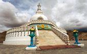image of jammu kashmir  - Tall Shanti Stupa near Leh  - JPG