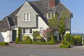 stock photo of portland oregon  - Residential homes on the west hills in Portland Oregon - JPG