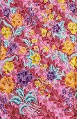 picture of batik  - Beautiful colorful pattern flowers on batik fablic - JPG