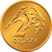 stock photo of copper coins  - vector reverse Polish Money two groszy copper coin with Value and 2 leaves - JPG