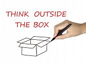 foto of thinking outside box  - think outside the box drawn by human hand over white background - JPG