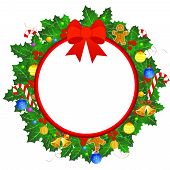 foto of candy cane border  - Christmas wreath with colorful christmas ornaments isolated on white background and red ribbon border with bow - JPG