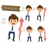 picture of descending  - Businessman character present growing and present descending set vector - JPG