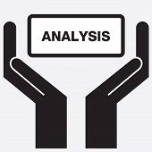 stock photo of swot analysis  - Hand showing analysis sign icon - JPG