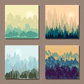 pic of redwood forest  - set of different landscapes with trees - JPG