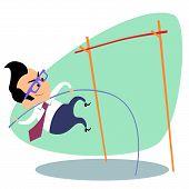 image of pole-vault  - Businessman pole vault height - JPG