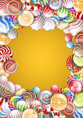 foto of lollipop  - Bright colorful frame with candies - JPG