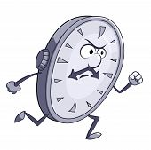picture of running-late  - Illustration of the angry clock running on white background - JPG