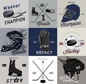 stock photo of ice hockey goal  - Set vintage of sports vector logos, labels and design elements.  Ice hockey labels and design elements. - JPG