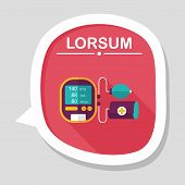 stock photo of sphygmomanometer  - Sphygmomanometer Blood Pressure Flat Icon With Long Shadow - JPG