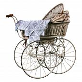 picture of edwardian  - isolated edwardian pram in perfect condition - JPG
