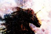pic of fairy tail  - Horse black unicorn in space illustration abstract desert color background profile portrai crackle effect - JPG