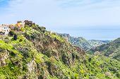 picture of hamlet  - mountain village Savoca in Sicily and sea on horizon Italy - JPG