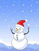 stock photo of snowmen  - Background illustration of happy smiling snowman on blue falling snow background snowman wearing red santa hat - JPG