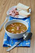 image of sausage  - Lentil soup with sausages and potatoes - JPG