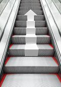 image of escalator  - Shining modern metal escalator with white arrow moving up perspective effect 3d illustration combined with photo background - JPG