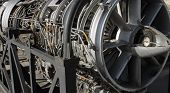 stock photo of section  - Real aircraft turbine engine sectional view closeup - JPG