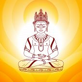 picture of swastika  - buddha sitting in lotus pose on the sunny background - JPG