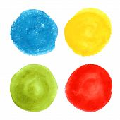picture of olive shaped  - Collection of four hand drawn colored watercolor round shapes and banners - JPG