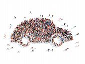 image of speeding car  - Large group of people in the form of a car - JPG