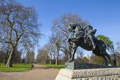 stock photo of kensington  - The Physical Energy statue located in Kensington Gardens London - JPG