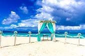 stock photo of gazebo  - beach wedding venue - JPG