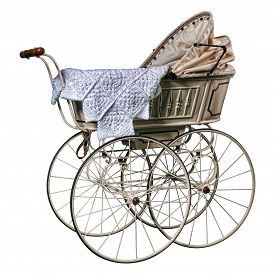 stock photo of edwardian  - isolated edwardian pram in perfect condition - JPG