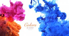 stock photo of colorful banner  - Acrylic colors and ink in water - JPG