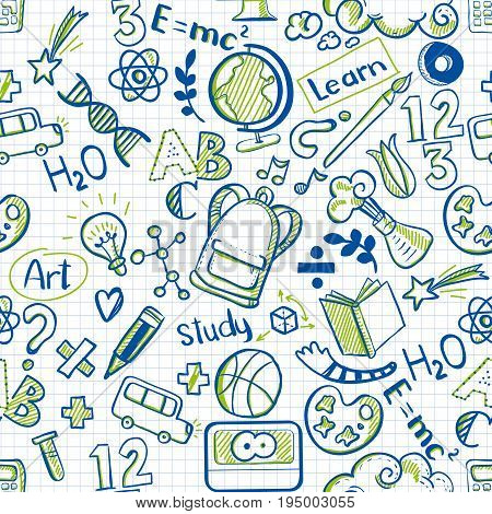 Back to school seamless vector pattern with skecth drawings on ...