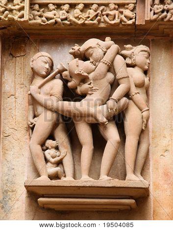 Постер, плакат: Храмы Кхаджурахо Индия, холст на подрамнике