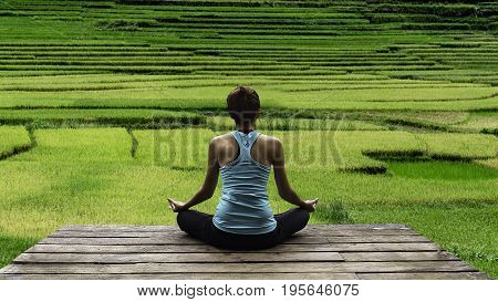 poster of Young woman practicing yoga during luxury yoga retreat in Asia Bali meditation relaxation getting fit enlightening green grass jungle backgroundTerraced rice field in rice season in Vietnam