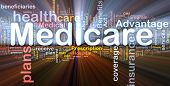 Background concept wordcloud illustration of medicare glowing light