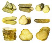 Collage of pickled cucumbers on white background poster