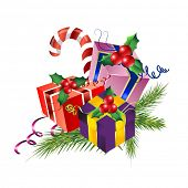 foto of christmas ornament  - Set of colorful christmas gift boxes  with pine - JPG