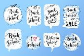 Back To School Labels, Greeting Cards Set. Vector Quote I Love School, Back To School Sale With Hear poster