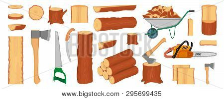 poster of Set Of Wood Logs, Trunks, Stump And Planks. Woodcutter Or Lumberjack Tools. Forestry. Firewood Logs.