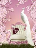 pic of fairyland  - Illustration with white peacock sitting on the chair in the airy garden - JPG