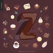 Dessert Font - Letter Z - Modern Flat Vector Concept Digital Illustration Of Temptation Font, Sweet  poster