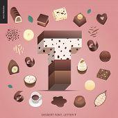 Dessert Font - Letter T - Modern Flat Vector Concept Digital Illustration Of Temptation Font, Sweet  poster