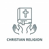 Christian Religion Line Icon, Vector. Christian Religion Outline Sign, Concept Symbol, Flat Illustra poster